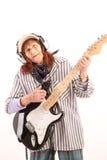 Śmieszna starsza dama bawić się gitarę elektryczną Zdjęcie Royalty Free