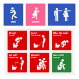 Śmieszna toaleta Podpisuje Kreatywnie Signboards Obrazy Stock