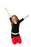 Śmieszna uśmiechnięta dziewczyna z szkłami odizolowywającymi na białym tle Zdjęcia Stock
