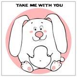 Śmieszna wektorowa kartka z pozdrowieniami z ślicznym grubym kreskówka królikiem, zwrotem i Poj?cie zabawa projekt dla odziewa? i ilustracji