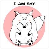 Śmieszna wektorowa kartka z pozdrowieniami z ślicznym grubym kreskówka lisem, zwrotem i Poj?cie zabawa projekt dla odziewa? i wn? ilustracji
