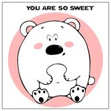 Śmieszna wektorowa kartka z pozdrowieniami z ślicznym grubym kreskówka niedźwiedziem, zwrotem i Poj?cie zabawa projekt dla odziew royalty ilustracja