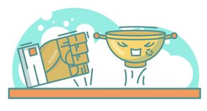 Śmieszna wektorowa pucharu i ręki ilustracja royalty ilustracja