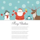 Śmieszna Wesoło kartka bożonarodzeniowa Bożenarodzeniowi charaktery wektor Fotografia Stock