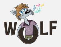Śmieszna wilcza postać z kreskówki śpiewa Karaoke logo świetlicowy wektorowy projekt Reklamujący dla karaoke, przyjęcie, dyskotek royalty ilustracja