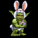 Śmieszna zielona błyszczka w królika kostiumu z piłką ilustracji