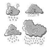 Śmieszne dżdżyste chmury ilustracji