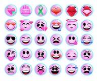 Śmieszne emoji ikony ustawiać dla sieci na białym tle obraz royalty free