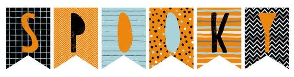 Śmieszne Halloweenowe Wektorowe chorągiewek flaga Straszna girlanda ilustracja wektor