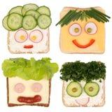 Śmieszne kanapki dla dzieciaków Fotografia Stock