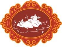 Śmieszne kreskówek świnie, prosiaczki na gospodarstwie rolnym ma zabawę, bawić się i f i, Zdjęcie Stock