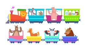 Śmieszne kreskówek zwierząt przejażdżki w kreskówka pociągach ilustracja wektor