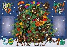 Śmieszne małpy greeted nowego roku Obraz Stock