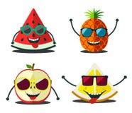 Śmieszne owoc ustawiać Projekt kreskówka pokrajać jedzenie Fotografia Stock