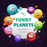 Śmieszne planety, astronomia dla dzieciaków Wektorowy dziecięcy astronautyczny tło ilustracji