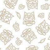 Śmieszne sowy i ranku kawowy niski poli- bezszwowy wzór Brown wykłada na białym tle ilustracja wektor