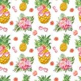 Śmiesznego lata bezszwowy wzór z świeżym ananasem w okularach przeciwsłonecznych i tropikalnych roślinach na białym tle Śliczny h royalty ilustracja