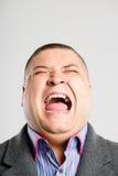 Śmiesznego mężczyzna portreta wysokiej definici popielatego tła istni ludzie Zdjęcie Royalty Free