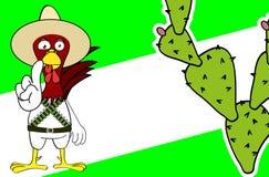 Śmiesznego małego kurczaka wyrażeń kreskówki meksykański tło Obraz Stock