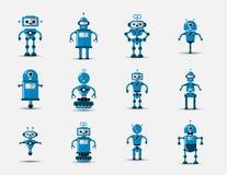 Śmiesznego rocznika śmiesznego wektorowego robota ustalona ikona w mieszkanie stylu odizolowywającym na popielatym tle Rocznik il ilustracji