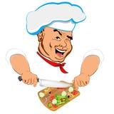 Śmiesznego szefa kuchni i świeżego warzywa składnik Zdjęcia Royalty Free