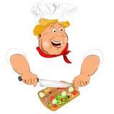 Śmiesznego szefa kuchni i świeżego warzywa składnik Obraz Stock