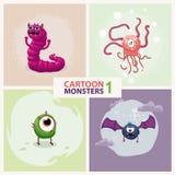 Śmiesznej ślicznej kreskówki potwora wektorowi charaktery ustawiający ilustracji