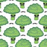 Śmiesznej brokuł kreskówki bezszwowy wzór Weganinu jedzenie Modnisiów brokuły z wąsy drukiem ilustracja wektor