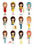 Śmiesznej kreskówek dziewczyn ślicznej żeńskiej młodej kobiety szczęśliwy charakter - ustalona wektorowa ilustracja Obrazy Stock