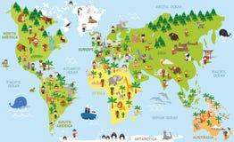 Śmiesznej kreskówki światowa mapa z dziećmi różne narodowości, zwierzęta i zabytki, royalty ilustracja