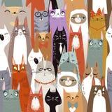 Śmiesznej kreskówki kotów bezszwowy wzór ilustracja wektor