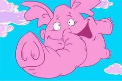 Śmiesznej kreskówki różowy słoń lata w niebieskiego nieba vith świetle - fiołkowe chmury Zdjęcia Stock