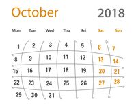 2018 śmiesznej oryginalnej siatki Października kreatywnie kalendarzy Zdjęcie Stock