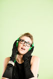 Śmiesznego kobieta portreta definici zieleni wysokiego tła istni ludzie Zdjęcie Royalty Free