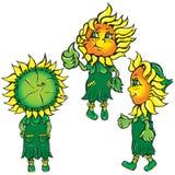 śmiesznej zieleni stylizowani słoneczniki Zdjęcia Royalty Free