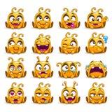 Śmieszni żółci obcy charakterów emoticons ustawiający ilustracja wektor
