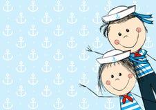 Śmieszni żeglarzów dzieciaki Zdjęcia Royalty Free