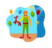 Śmieszni błazenu cyrka i charakteru sceny akcesoria ilustracja wektor