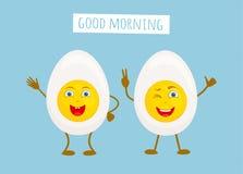 Śmieszni charaktery w postaci połówek gotowany jajko wektor royalty ilustracja