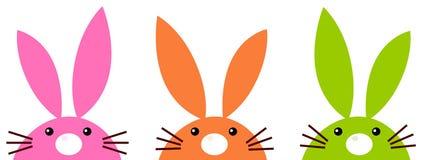 Śliczni prości Easter króliki ustawiają odosobnionego na bielu royalty ilustracja