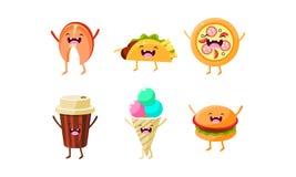 Śmieszni fastów food charaktery ustawiają, taco, pizza, filiżanka, lody, hamburgeru wektoru ilustracja ilustracji