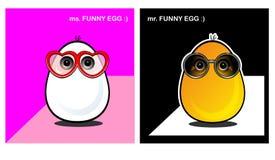 Śmieszni jajka stawiają czoło, emocja, uśmiechy, widowiska, w miłości, śmieszne twarze royalty ilustracja