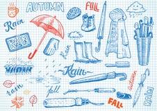Śmieszni jesieni doodles Zdjęcia Royalty Free