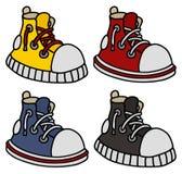 Śmieszni kolorów sneakers ilustracja wektor