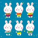 Śmieszni króliki na białym tło wektorze Obrazy Stock