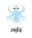 śmieszni kreskówek jellyfish royalty ilustracja