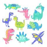Śmieszni kreskówka dinosaury ustawiający Prehistoryczne zwierzęce charakteru wektoru ilustracje ilustracja wektor