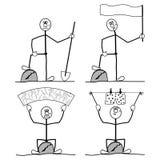 Śmieszni ludzie. ruchliwie z ich obowiązki domowe. Zdjęcie Stock
