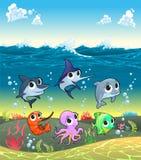 Śmieszni morscy zwierzęta na ocean podłoga Zdjęcia Royalty Free