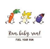 Śmieszni owoc i warzywo Jeść zdrowy i sprawność fizyczna Śliczny karmowy postać z kreskówki wektoru set ilustracji